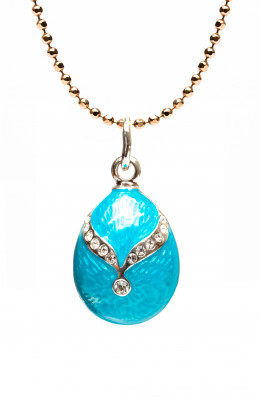 Gold Bow on Light Blue Egg Pendant