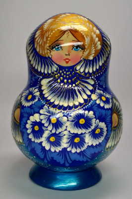 170mm Daisies Hand Painted Wooden Matryoshka doll 15 pcs (by Valentina Dolls)