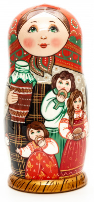 180 mm Russian Girl with Family hand painted wooden Matryoshka doll 5 pcs (by A Studio)