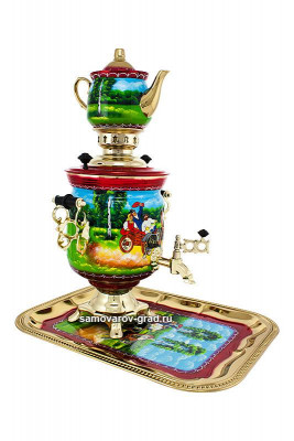 Summer Troika Hand Painted Electric Samovar Kettle with Teapot and Tray