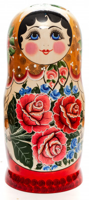 Golden Scarf Russian hand painted Wooden Matryoshka with 20 dolls inside