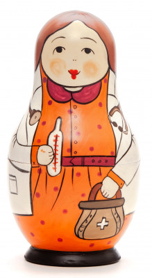 110 mm Doctor hand painted Traditional Russian Wooden Matryoshka doll 5 pcs (by Igor Malyutin)