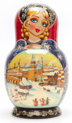 230 mm Moscow Kremlin handpainted Wooden Matryoshka round Doll 10 pcs (by Valery Crafts)
