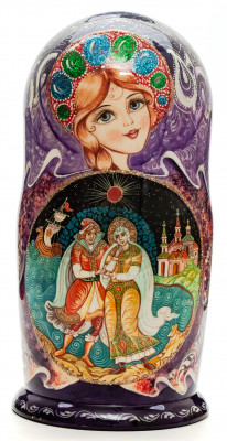 220 mm Russian Fairytale handpainted Wooden Matryoshka Doll 7 pcs (by Sheherazade)