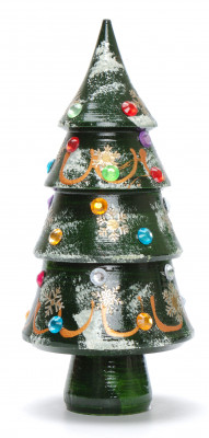 140 mm Christmas Wooden Green Tree with Hand Painted Garlands and Decorations