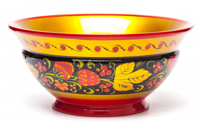 70x150 Khokhloma handpainted Open Small Vegetable Bowl wooden