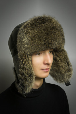 Light Brown Rabbit Hair Hat with Ear flaps and Leather top (by Boris Furs)