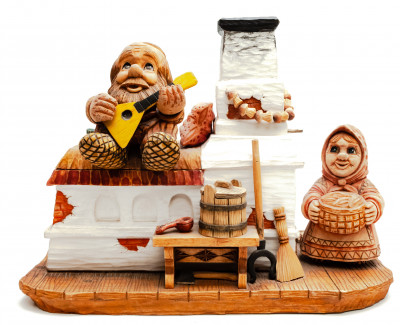 220 mm Russian Oven hand painted Wooden Statue (by Karpova Nadezda)