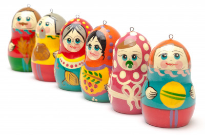 Russian Family Wooden Christmas Tree Ornaments 3 pcs