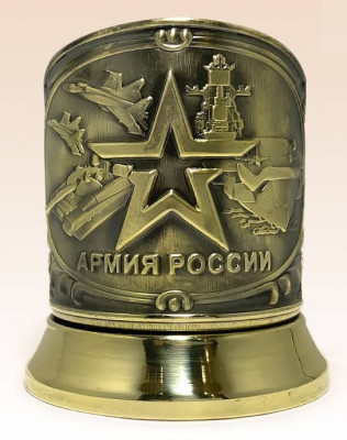Army of Russia Pure Brass Tea glass holder with Faceted Glass (by Kolchugino)