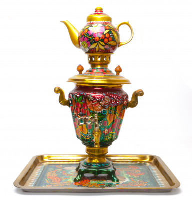 Firebird Electric Gold Samovar Kettle with Teapot and Tray