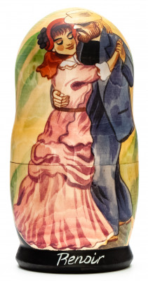 180 mm Dance at Bougival by Renoir hand painted on wooden Matryoshka doll 5 pcs (by Alexander Famous Paintings Studio)