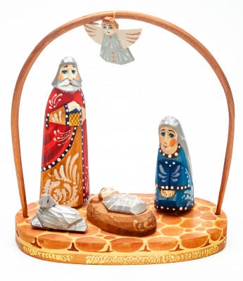 Nativity Set of 4 handpainted Carving Wooden Figures with Flying Angel