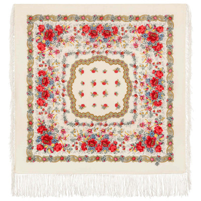 89x89 cm Native Chorus Woolen Scarf with Silk Fringe (by Pavlov Posad)