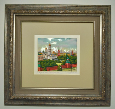 360x340 mm Moscow Kremlin hand painted on Nacre Fedoscino painting (by Tatiana Fedoscino Arts)