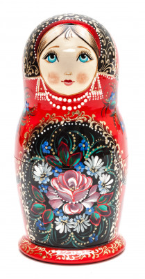 160 mm Flowers hand painted on wooden Matryoshka doll 5 pcs (by A Studio)