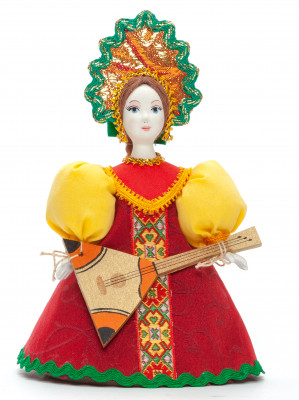 170 mm Young Lady with Balalaika Porcelain Doll (by Le Russe)