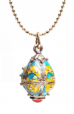 Yellow and Light Blue Egg Pendant