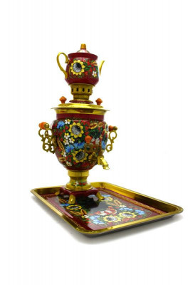 Sunflower Hand Painted Electric Samovar Kettle with Teapot and Tray