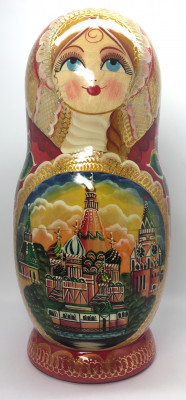 370 mm Moscow Cathedrals hand painted wooden Red Matryoshka Doll 20 pcs (by Valery Matryoshka Studio)