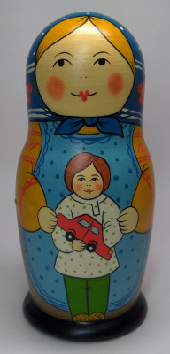 160 mm Mother with Son with a Toy hand painted Traditional Russian Wooden Matryoshka doll 5 pcs (by Igor Malyutin)