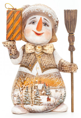 180 mm Snowman with a Broom and a Gift hand painted wooden figurine (by Natalia Nikitina Workshop)