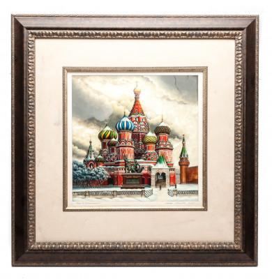 595x605 mm Saint Basil Cathedral hand painted on Nacre Fedoscino painting (by Tatiana Fedoscino Arts)