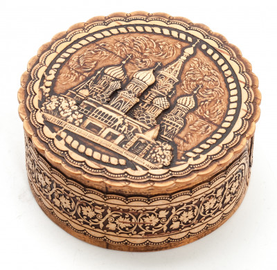 d 75 mm Moscow Saint Basil Cathedral hand made Birchbark Jewelry Box (by Birch Gifts)