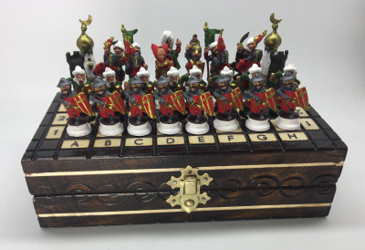 The Battle of Tours Tin Soldiers Hand Painted Chess Pieces on Wooden Chess Board