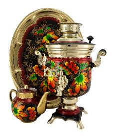 Golden Autumn Hand Painted Electric Samovar Kettlewith Teapot and Tray