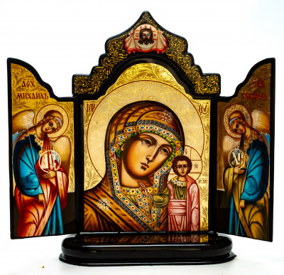 190x260mm Vladimirskaya Godmother handpainted on nacre Icon (by Galina Studio)