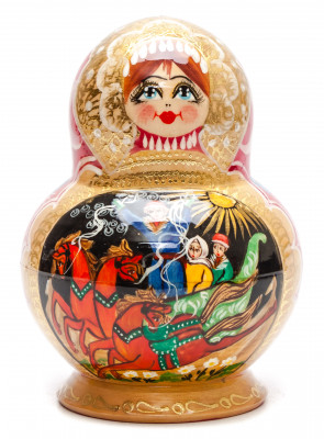 160 mm Russian Troika handpainted Wooden Matryoshka round Doll 10 pcs (by Valery Crafts)