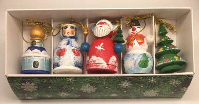 Santa and Snowman Carving Christmas Ornaments Set of 5 pcs (by Ilya Painted Dolls Studio)