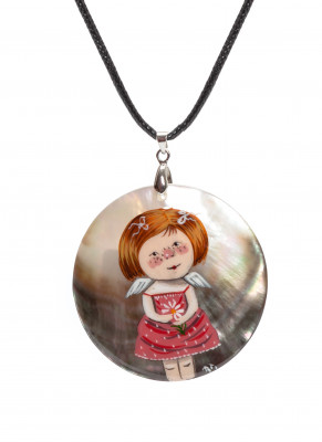 d50 mm Girl with a Flower hand painted Nacre Pendant (by Tatiana Shkatulka Crafts)