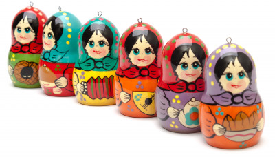 Matryoshka with Russian Traditions Christmas Ornaments