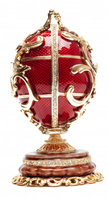 130 mm Double Ornament Red Easter Egg with the Basket
