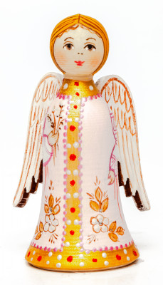 70 mm Angel handpainted wooden Figurine