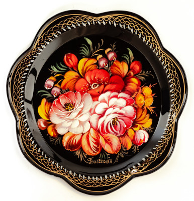 d 220 mm Zhostovo Patterns hand painted and lacquered by Bychkova Metal Forged Black Tray (by Lada Crafts)