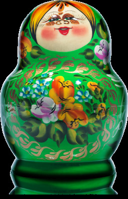 140 mm Freckles and Green Dress hand painted Wooden Matryoshka Doll 10 pcs (by Freckles Studio)