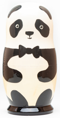 180mm Panda Hand Painted Matryoshka Doll 5 pcs (by Konstantin Studio)