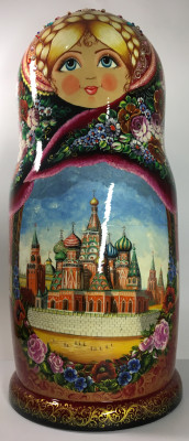 670 mm Snt Basil Cathedral and other Moscow Attractions hand painted Wooden Matryoshka doll 50 pcs (by Olga Collection)