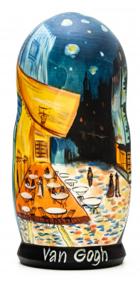 180 mm Café Terrace at Night by van Gogh hand painted on wooden Matryoshka doll 5 pcs (by Alexander Famous Paintings Studio)