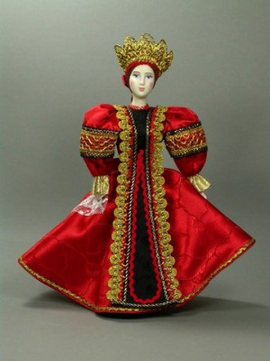 Russian Beauty hand made Porcelain Doll in a Red Dress - 11 Inches (by Le Russe)
