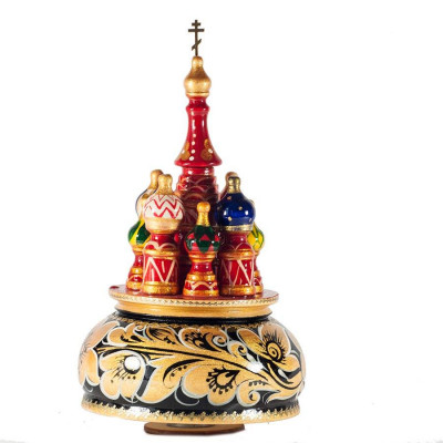 230 mm Saint Basil's Cathedral Khokhloma Art hand painted Wooden Music Box (by Nightingale Crafts)