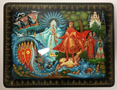 260x200 Tsar Saltan fairytale handpainted by S. Bragina papie-mache lacquered box from Kholuy (by Sadko Workshop)