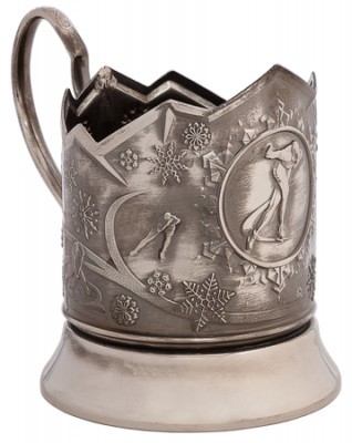 Skating Nickel Plated Brass Tea Glass Holder with Faceted Glass (by Kolchugino)