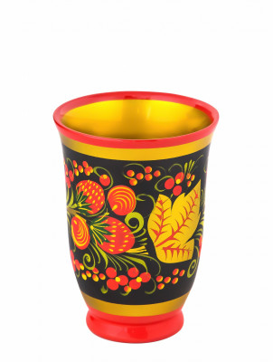110x80 mm Khokhloma hand painted wooden Cup (by Golden Khokhloma)
