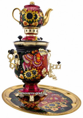 Phoenix and Sunflower Hand Painted Electric Samovar Kettle with Teapot and Tray