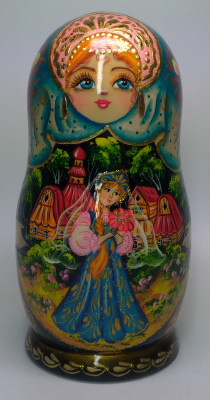 160mm The Scarlet Flower hand painted Matryoshka doll 5pcs