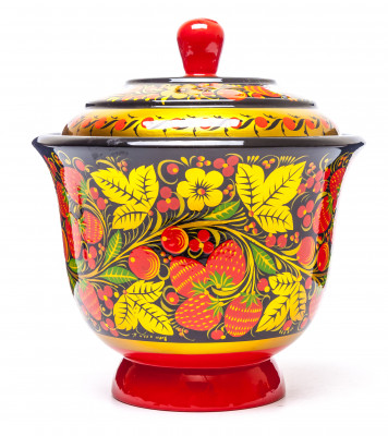 160x150 mm Khokhloma hand painted wooden Sugar Bowl (by Golden Khokhloma)